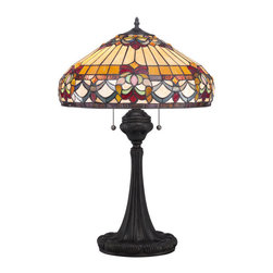 Quoizel - Quoizel Vintage Bronze Lamps - SKU: TF1511TVB - Elegant Tiffany style is a timeless staple of home decor. The various designs are hand-assembled using the copper foil technique developed by Louis Comfort Tiffany. With an enormous variety of colors and patterns to choose from, Quoizel Tiffany's have become more popular than ever.