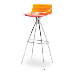 Calligaris - L'Eau Bar Stool, Transparent Orange - Knock, knock. Orange you glad you saw this whimsical little bar stool? A swooped transparent seat and steel legs balance its whimsical color, sure to pop in your kitchen or dining area.