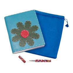 "Sitara Collections - Handmade Teal Cruelty-Free Leather Journal with Green Flower (6"" X 8"") - Soft Bound Leather Journals & Notebooks: Hand Made Leather Journals, Diaries & More."