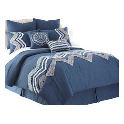 Kira Embellished 8-piece Comforter Set Queen Blue - Comforter sets aren't just for sleeping. They can also be regarded, like armoires and suits of armor, as a practical piece of art for the bedroom. This eight-piece set includes euro shams, decorative pillows, pillow shams, and a tailored bed skirt, not to mention an oversized, overfilled comforter wrapped in 100% polyester.