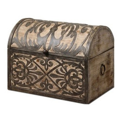 Uttermost Abelardo Box - Bring home the Uttermost Abelardo Box to store your precious essentials. The trinket box is made of lightly stained rustic wood and adorned with wrought iron metal patterns. It comes with a hinged lid that provides easy access for storage. Designed in a classic style this attractive box will complement the décor style of any traditional home. Make use of this box to store your precious ornaments coins artifacts or other knick-knacks. About Uttermost The mission of the Uttermost Company is simple: to make great home accessories at reasonable prices. This has been their objective since founding their family-owned business over 30 years ago. Uttermost manufactures mirrors art metal wall art lamps accessories clocks and lighting fixtures in its Rocky Mount Virginia factories. They provide quality furnishings throughout the world from their state-of-the-art distribution center located on the West Coast of the United States.