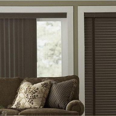 Family Room Inspiration - Vinyl Blinds coordinate very well with other window treatments in a room, but look just as great on their own. Vinyl Blinds from 3 Day Blinds complement our Vinyl Verticals and are fashionably efficient. They insulate your home and are ideal for high-moisture areas in your home. Add a decorative tape to any color choice to customize your look.