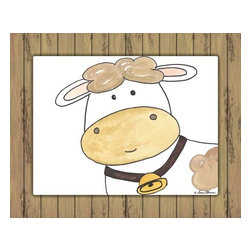 Oh How Cute Kids by Serena Bowman - Here's Looking at You - Cow with Wood Border, Ready To Hang Canvas Kid's Wall De - Every kid is unique and special in their own way so why shouldn't their wall decor be so as well! With our extensive selection of canvas wall art for kids, from princesses to spaceships and cowboys to travel girls, we'll help you find that perfect piece for your special one.  Or fill the entire room with our imaginative art, every canvas is part of a coordinating series, an easy way to provide a complete and unified look for any room.