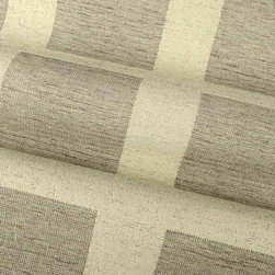 Box Out Upholstery Fabric in Putty - Box Out Upholstery Fabric in Putty has a large scale geometric pattern in a versatile neutral colorway. Made in Germany from a blend of 60% cotton and 40% polyester. Cleaning code: S. Repeat: 7″H 7″V; Width: 54″.