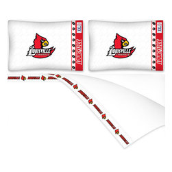 Sports Coverage - NCAA Louisville Cardinals Football Full Bed Sheet Set - Features: