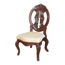 MBW Furniture - Pair of 2 Mahogany Victorian Round Back Dining Side Chairs (2) - This product is finely constructed from top grade kiln-dried solid mahogany. Its superb quality will add a touch of elegance to your home.