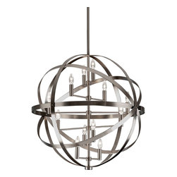 """Robert Abbey - Contemporary Robert Abbey Lucy 30 3/4"""" Wide Antique Nickel Pendant - This dark antique silver 12-light pendant is part of the Lucy collection from Robert Abbey. Sleek metal bands surround the sparkling candelabra bulbs creating an elegant and dynamic lighting option for your contemporary dining room.  Antique nickel finish.  Metal construction.  A large chandelier with three levels of lights.  Twelve maximum 60 watt or equivalent candelabra base bulbs (not included).  Direct wire only.  Includes one 6"""" three 12 downrods.  30 3/4"""" wide.  30"""" high.  Height adjusts from 41 3/4"""" to 77 3/4"""".  Canopy is 7 3/4"""" wide."""