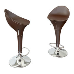 Sonax - CorLiving Round Styled Bar Stool in Brown Leatherette (Set of 2) - Sonax - Bar Stools - B332VPD -Add spice to any bar or kitchen island with the adjustable bar stool featuring a foam padded continuous form round styled bar seat with back rest. Finished in Chocolate Brown Leatherette this barstool comes with visible features like the finely detailed stitch pattern, gas lift, chromed base and chromed leg support. A great addition to any home!