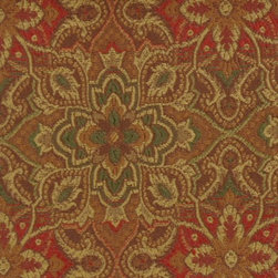 Medallion/Tile - Red/Green Upholstery Fabric - Item #1010057-91.
