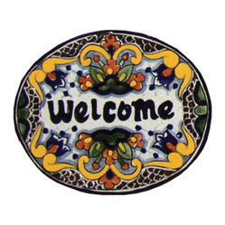 Native Trails - Tile 'Welcome' Plaque in Zinnia, Small - Put out the welcome plaque! This handmade tile is rendered in colorful warm hues to make your guests feel right at home.
