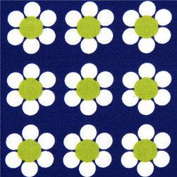 blue Robert Kaufman fabric with white flowers - Daisies Fabric