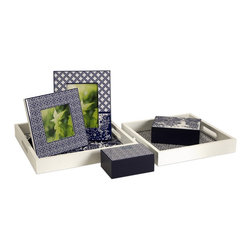 Blue and White Geometric Desk Accessories - Set of 6 - *Very sleek and contemporary, this desk set contains two picture frames, two lidded boxes and two trays.