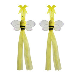 "Bugs-n-Blooms - Bumblebee Tie Backs Yellow Smiling Nylon Bee Tieback Pair Set Decorations - Window Curtains Holder Holders Tie Backs to Decorate for a Baby Nursery Bedroom, Girls Room Wall Decor - 5""W x 4""H Smiling Curtain Tieback Set Bumble Honey Bee 2pc Pair - Beautiful window curtains tie backs for kids room decor, baby decoration, childrens decorations. Ideal for Baby Nursery Kids Bedroom Girls Room.  This cute nylon bumblebee has a yellow body and white wings with sequins. This pretty bee is made with a soft bendable wire frame & have color match trails of organza ribbons.  Has 2 thick color matched organza ribbons to wrap around the curtains. Visit our store for more great items. Additional styles are available in various colors, please see store for details. Please visit our store on 'How To Hang' for tips and suggestions. Please note: Sizes are approximate and are handmade and variances may occur. Price is for one pair (2 piece)"