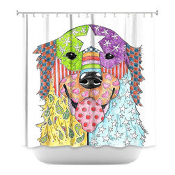DiaNoche Designs - Shower Curtain Artistic - Retriever Dog - DiaNoche Designs works with artists from around the world to bring unique, artistic products to decorate all aspects of your home.  Our designer Shower Curtains will be the talk of every guest to visit your bathroom!  Our Shower Curtains have Sewn reinforced holes for curtain rings, Shower Curtain Rings Not Included.  Dye Sublimation printing adheres the ink to the material for long life and durability. Machine Wash upon arrival for maximum softness. Made in USA.  Shower Curtain Rings Not Included.