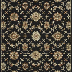"""Loloi Rugs - Loloi Rugs Fairfield Collection - Black, 5'-0"""" x 7'-6"""" - �Updated traditional' may seem like the perfect paradox, but that's exactly the style you can expect from the Fairfield Collection. These classic designs have been refashioned to feature narrower borders and less ornate pattern for a look that's timely, yet timeless. And while your eyes admire the design and colors, your feet will thank you for the feel of thick, all wool pile. Hand-tufted in India, Fairfield rugs are a new classic for today."""