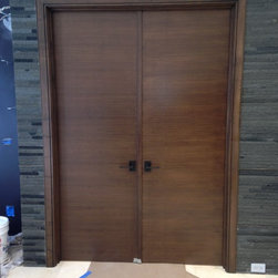 Interior Doors - Double walnut doors with quarter sawn cross grain veneers