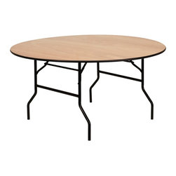 Flash Furniture - 60 in. Round Folding Banquet Table - Thick plywood top with clear coated top. Black t mold edge band. Black powder coated wishbone legs. 18 gauge steel legs. Non marring foot caps. Supplier warranty: Our products have a 2 year warranty for parts. This warrants against defects in manufacturing. If the products are used excessively (more than 8 hours/day), and have excessive weight (over 225 lbs.) applied, the warranty is void. New parts will be sent out, or the item will be replaced at our discretion.. Made from steel and wood. No assembly required. 60 in. Dia. x 30 in. H