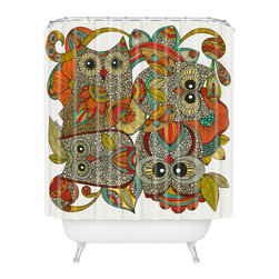 DENY Designs - Valentina Ramos 4 Owls Shower Curtain - Who says bathrooms can't be fun? To get the most bang for your buck, start with an artistic, inventive shower curtain. We've got endless options that will really make your bathroom pop. Heck, your guests may start spending a little extra time in there because of it!