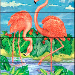 The Tile Mural Store (USA) - Tile Mural - Bamboo Flamingo With Sky - Kitchen Backsplash Ideas - This beautiful artwork by Paul Brent has been digitally reproduced for tiles and depicts two flamingos.  Images of waterfowl on tiles are great to use as a part of your kitchen backsplash tile project or your tub and shower surround bathroom tile project. Pictures of egrets on tile, images of herons on tile and decorative tiles with ducks and geese make a great kitchen backsplash idea and are excellent to use in the bathroom too for your shower tile project. Consider a tile mural of water fowl for any room in your home where you want to add interesting wall tile.