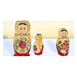 """Emma at Home - Matryoshka Group Stare Canvas, 8"""" x 16"""" - These are the sweetest little Russian dolls. They seem both youthful and wise. The warm color palette could work well in a lot of modern kitchen designs — blending an old-world tradition with modern life through art."""