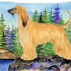 Caroline's Treasures - Afghan Hound Fabric Standard Pillowcase Moisture Wicking Material - Standard White on back with artwork on the front of the pillowcase, 20.5 in w x 30 in. Nice jersy knit Moisture wicking material that wicks the moisture away from the head like a sports fabric (similar to Nike or Under Armour), breathable performance fabric makes for a nice sleeping experience and shows quality. Wash cold and dry medium. Fabric even gets softer as you wash it. No ironing required.