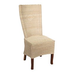 Solid Mahogany Wicker High Back Occasional Parson Side Chair - This product is finely constructed from top grade kiln-dried Solid Mahogany. Artisans use the old world method of tongue and groove and mortise and tenon joinery to create this beautiful and durable piece of furniture. Its superb hand-crafted quality will add a touch of elegance to your home.