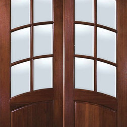 "Slab Patio Double Door 96 Wood Mahogany Arch Top 3/4 Lite 6 Lite - SKU#    LD8295A-GBrand    GlassCraftDoor Type    FrenchManufacturer Collection    Arch Top French Double DoorDoor Model    Door Material    WoodWoodgrain    MahoganyVeneer    Price    2163Door Size Options      +$percent  +$percentCore Type    Door Style    Arch TopDoor Lite Style    3/4 Lite , 6 LiteDoor Panel Style    1 PanelHome Style Matching    Door Construction    TDLPrehanging Options    SlabPrehung Configuration    Double DoorDoor Thickness (Inches)    1.75Glass Thickness (Inches)    Glass Type    Double GlazedGlass Caming    Glass Features    Low-E , Tempered ,  Low-E , BeveledGlass Style    Glass Texture    ClearGlass Obscurity    No ObscurityDoor Features    Door Approvals    Wind-load Rated , FSC , TCEQ , AMD , NFRC-IG , IRC , NFRC-Safety GlassDoor Finishes    Door Accessories    Weight (lbs)    575.2Crating Size    25"" (w)x 108"" (l)x 52"" (h)Lead Time    Slab Doors: 7 daysPrehung:14 daysPrefinished, PreHung:21 daysWarranty    One (1) year limited warranty for all unfinished wood doorsOne (1) year limited warranty for all factory?finished wood doors"