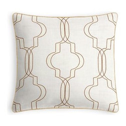 Tan Embroidered Moroccan Trellis Custom Throw Pillow - Every decorator knows: it's the details that make a room.  That's why we love the Microcord Throw Pillow with a thin piped edge that adds just a hint of color. We love it in this classic Moroccan-inspired trellis embroidered in golden tan and pale vanilla on super soft lightweight cream linen blend.