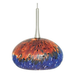 LBL Lighting - LBL Lighting | Jelly Pendant Light - Italian mouth-blown Murano glass with real silver flakes and unique frit.Glass is handblown, colors will vary and no two will be exactly alike. Available in satin nickel and bronze finishes.
