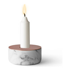 MENU - Chunk of Marble, Copper - Witty and weighty, this hunk of a candleholder adds substance to your favorite setting without taking up much space. This one's marble — but they come in wood and concrete, too, to light and delight around your home.