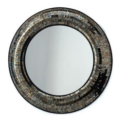 Two's Company - Gold Mosaic Round Wall Mirror - Two's Company Gold Mosaic Round Wall Mirror MDF/Glass. Features:Material: Glass. Color/Finish:Color: Gold. Dimensions:Overall Dimensions: 37'' Diameter.