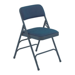 National Public Seating - National Public Seating 2300 Series Fabric Upholstered Premium Folding Chair - These fabric upholstered folding chairs come with padding to add increased comfort to their durability and strength, just like the 2200 series. However they increase in strength with a third cross brace. The seats and backs are riveted to the chair, so you don't have to worry about them falling off and the fabric is scotch guarded to prevent stains. Using a chair truck makes these folding chairs easily portable.