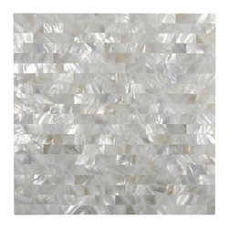 CNK Tile - White Brick Groutless Pearl Shell Tile - Groutless Installation for Zero Grout Lines!