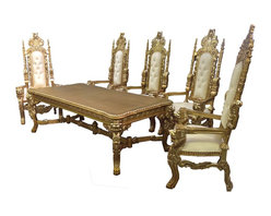Lion Head Dining Table Set, Gold/White - This is a rectangular style, solid mahogany wood table with hand crafted lion face and/or designs. Made in Indonesia.  One set includes 7 pieces: 1 dining table, and 6 chairs.