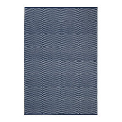 Fab Habitat - Zen - Dark Blue & Bright White (4' x 6') - Enchanting, interlocking geometric shapes create a mandala-like effect on the pattern of this eco-chic rug, acting as a ultramodern basis for your whole decor. Hand woven from 100 percent recycled cotton, this stunning rug is available in a variety of colors and sizes, all oh-so-sophisticated.
