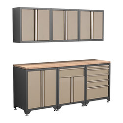 Newage Products - NewAge Products Pro Series 7-Piece Taupe Cabinetry Set - The Pro Series 7 Piece Set is an ideal storage solution for any workshop or garage. For a clean, unique, and fresh new look the Pro Series delivers.