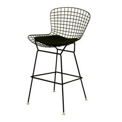 Baxton Studio - Baxton Studio Bertoia Style Black Wire Barstool - This minimalistic, contemporary bar stool is a tribute to the sparse nature of much of modern design.  The modern stool is completely made up of sturdy steel that has been finished in pure black.  The legs end in silver disc-shaped feet.  Comfort is enhanced by the black leatherette seat pad, which attaches directly to the seat with Velcro strips.  Assembly is required.