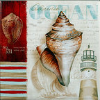 "Tile Art Gallery - Atlantic Ocean - Ceramic Accent Tile - This is a beautiful sublimation printed ceramic tile entitled ""Atlantic Ocean"" by artist Conrad Knutsen. It features a seashell medley with a lighthouse in the background."