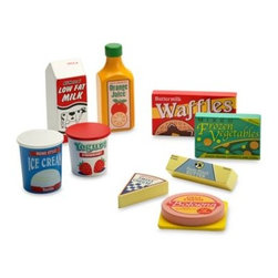 Melissa And Doug - Melissa & Doug Wooden Fridge Food Set - Your child will have lots of food play fun with these nine wooden pieces including orange juice, waffles, milk, ice cream, cheese, yogurt, frozen vegetables, bologna and butter.