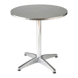 Eurostyle - Eurostyle Allan Round 32x32 Dining Table in Stainless & Aluminum - Our designers made a good thing even better with the decidedly Euro Style Bistro Table. The shiny Allan Bistro stainless steel table top is secured atop an aluminum base with a quadruped base. And we've got it in two diameters, and as both table and bar height. Can we make it even better? Why yes! Those wobbles are a thing of the past with the adjustable feet. Merci! What's included: Dining Table (1).