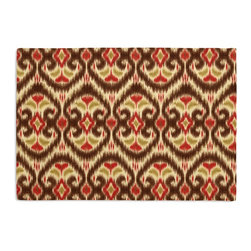 Brown & Red Ikat Custom Placemat Set - Is your table looking sad and lonely? Give it a boost with at set of Simple Placemats. Customizable in hundreds of fabrics, you're sure to find the perfect set for daily dining or that fancy shindig. We love it in this bold brown, red & curry yellow eclectic ikat on textured cream cotton. the spicy, bustling bazaar brought home to you!