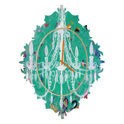 DENY Designs - Kent Youngstrom Emerald Chandelier Baroque Clock - It's about time to check out the baroque clock collection! With a sleek mix of baltic birch ply trim that's unique to each piece and a glossy aluminum face, this baroque clock is gonna turn up the fancy on that plain Jane wall of yours.