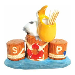 WL - 4.75 Inch Pelican on Pier Salt and Pepper Shaker and Toothpick Holder - This gorgeous 4.75 Inch Pelican on Pier Salt and Pepper Shaker and Toothpick Holder has the finest details and highest quality you will find anywhere! 4.75 Inch Pelican on Pier Salt and Pepper Shaker and Toothpick Holder is truly remarkable.
