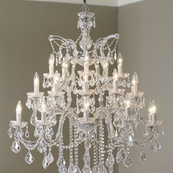 """Horchow - 26-Light Maria Theresa Chandelier - Polished chrome and hand-cut crystals make this chandelier really shine. Uses 26 25-watt bulbs. 38""""Dia. x 44""""T with 72""""L chain. Imported"""