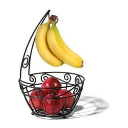 "Spectrum Diversified Design - Scroll Fruit Tree - Display your fruits and vegetables in style with the Scroll Fruit Tree. The smart open design and mesh bottom lets air circulate allowing fruits and vegetables to evenly ripen. An attached banana hook keeps bananas from bruising and allows you to store all your produce in one convenient place. The beautiful scroll design will add a traditional touch to your kitchen. Black wrought iron. 17""h x 10 1/4""w x 10 1/4""d"