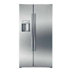 Bosch - Linea B22CS80SNS 22.0 cu. ft. Counter-Depth Side by Side Refrigerator with Adjus - Linea 800 Series 210 Cu Ft Counter-Depth Side-by-Side Refrigerator - Stainless-Steel Frameless Exterior Ice and Water Dispenser with LED illumination serves filtered water and both crushed and cubed Ice Multiple mode options