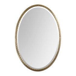 Uttermost - Uttermost Casalina Brass Transitional Oval Mirror X-71110 - Plated, brushed brass finish with twisted metal rope detail. Mirror is beveled.