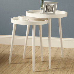 "Monarch - White 2Pcs Nesting Table Set - A beautiful set of white round tray top nesting tables with sturdy wood legs. Use them as a pair or separate them for entertaining. Easy to clean and simple to move around.; Material: Wood; Large Table: 21.5""L x 17""W x 17""H; Small Table: 17""L x 17""W x 21.5""H"