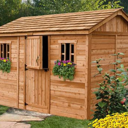 Outdoor Living Today - Outdoor Living Today CB128 Cabana 12 x 8 ft. Garden Shed Multicolor - CB128 - Shop for Sheds and Storage from Hayneedle.com! The Outdoor Living Today CD128 Cabana 12 x 8 ft. Garden Shed is great for storing tools and outdoor supplies but it also makes a great changing room for your backyard pool. Made with attractive sturdy Western red cedar this shed boasts a mahogany veneer on the interior panels a rustic cedar shake roof and cedar-planked double doors that open up 62 inches wide for easy access and usability. Other features include two windows with working screens each with flower boxes for a pleasant natural touch. Assembly is a weekend project for one or two people. One-year limited warranty included.DimensionsExterior: 11.5W x 8.1D x 8.4H feetInterior: 10.9W x 7.6D x 8.2H feetDoor: 2.6W x 6H feet About Cedar WoodCedar wood is lightweight and resistant to both cracking and moisture rot. The oils of this resilient wood guard against insect attack and decay and their distinctive aroma acts as a mild insect repellant. Cedar is a dependable choice for outdoor furniture either as a finished or unfinished wood. Over time unfinished cedar left outdoors will weather to a silvery gray patina. This natural process does not compromise the strength or integrity of the wood.Another great aspect of cedar is its environmental effect - which is minimal. A renewable resource cedar wood emits low greenhouse gases. So rest assured knowing that your beautiful cedar furniture is a green choice too!About Outdoor Living TodayOutdoor Living Today has a simple goal. That goal is to provide the best wood products to the marketplace at the best value. Established in 1974 Outdoor Living Today has a well-earned reputation for making products that are functional durable attractive and affordable. Products are designed so that the average person with limited building skills can assemble them. Gazebos sheds playhouses and pergolas are all uniquely designed and construct