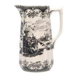 Toile Black Pitcher - Classic black and cream toile? Yes, please! This pitcher would add a traditional element to your table.